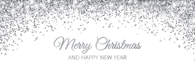 Merry Christmas and New Year card design. Silver glitter decoration