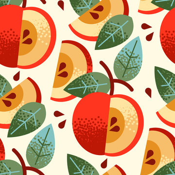 Seamless pattern of textured apples, seeds, leaves on branch