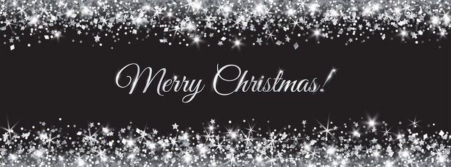 Wall Mural - Merry Christmas and New Year banner. Silver glitter decoration