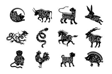The set of symbols of the Chinese horoscope.