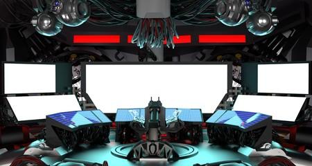 cyberpunk room,data center,3d render.