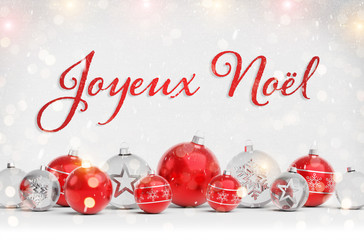 Christmas card greetings with red and white christmas baubles 3D rendering in French