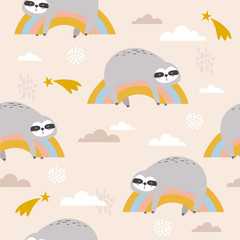 Sloths, stars, rainbow and clouds hand drawn backdrop. Colorful seamless pattern with animals. Decorative cute wallpaper, good for printing. Overlapping background vector. Design illustration