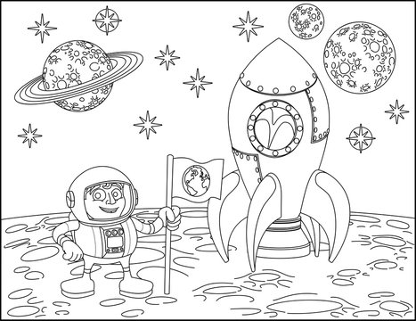 A space cartoon coloring scene background page with rocket, astronaut and planets