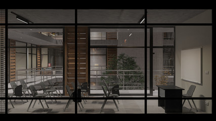 External View of a Seminar Room by Night 3D Rendering