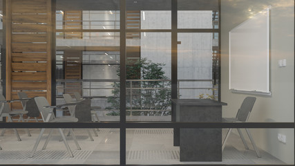Side View of a Class Behind the Glass Inside a Multi Story Building with an Inner Garden 3D Rendering