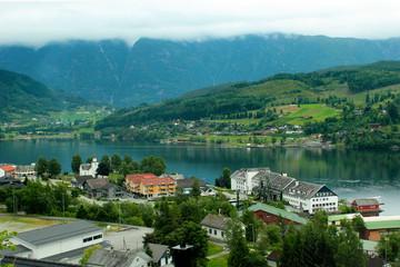 View of Ulvik village in Hordaland county, Norway.