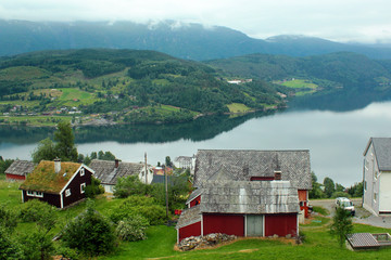 View of Ulvik fjord and Ulvik village in Hordaland county, Norway.