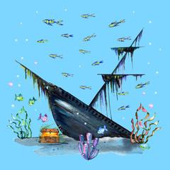 Poster Submarine Watercolor underwater world, marine life. Sunken ship. Treasure chest