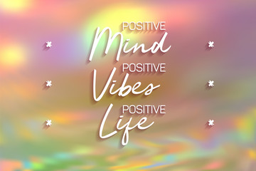 Positive mint, vibes and life poster. Inspirational quote banner.