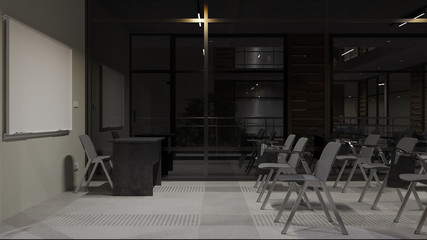 Illuminated Nighttime Rendering of a Classroom with No People 3D Rendering