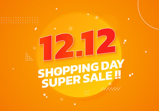 12.12 World Shopping Day Super Sale poster. Double 12 December online shop social media banner promotion template vector design with fresh orange background illustration