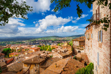 View ofl Perugia medieval historic center and Umbria countryside from city panoramic terrace