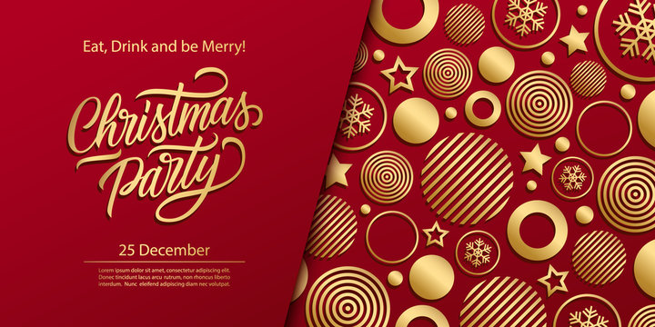 Christmas Party luxury holiday banner with gold hand lettering and gold colored christmas balls background. Vector illustration.
