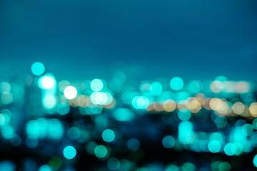 Abstract neo mint city night light blur bokeh. Vintage tone defocused background.
