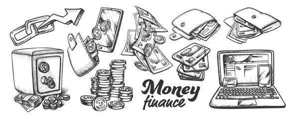 Money Finance Collection Monochrome Set Vector. Wallet With Money Cash And Coins, Safe And Blockchain, Laptop And Mobile. Engraving Template Hand Drawn In Vintage Style Black And White Illustrations