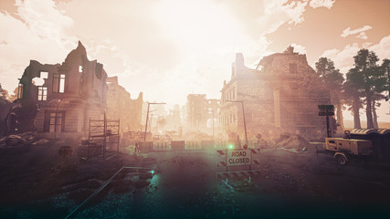 Ruins of a city. Apocalyptic landscape post apocalypse 3d render Wall mural