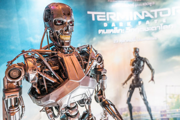 Bangkok, Thailand - Oct 25, 2019: Terminator dark Fate movie advertisement backdrop booth with T-800 robot machine model statue showing at cinema