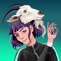 Beautiful girl with a goat on her head