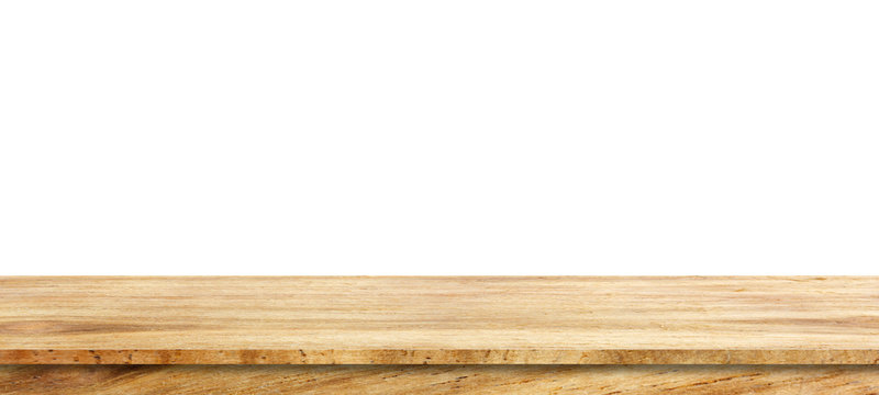 Wooden tabletop isolated on white background Empty rustic wood table,For montage product display or design key visual layout.with clipping path