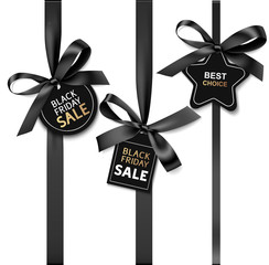 Decorative black bow with price tag for black friday sale design. Vector illustration