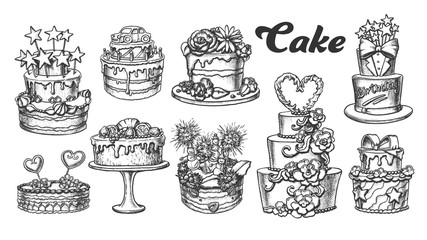 Cake Pie Delicious Collection Retro Set Vector. Birthday Anniversary, Valentine And Wedding Day Cake Engraving Concept Template Hand Drawn In Vintage Style Black And White Illustrations