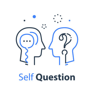 Human head profile and speech bubble, self questioning, cognitive psychology or psychiatry concept