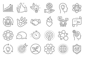 Core values line icons. Integrity, Target purpose and Strategy. Trust handshake, social responsibility, commitment goal icons. Growth chart, innovation, core values network. Line signs set. Vector
