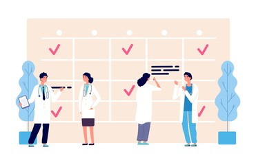 Medical schedule. Doctors work schedule vector illustration. Clinic team, agenda, hospital staff characters. Medical doctor appointment, medicine schedule service