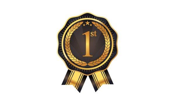 First prize ribbon award vector. Guarantee luxury gold logo