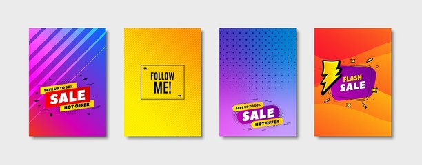 Follow me symbol. Cover design, banner badge. Special offer sign. Super offer. Poster template. Sale, hot offer discount. Flyer or cover background. Coupon, banner design. Vector