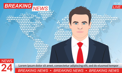 TV news studio. Breaking news background with anchorman or presenter. Television program template. Vector illustration.