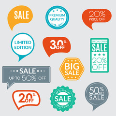 Sale sticker or label set. Price off tag and badges collection. Discount and promotion icons. Vector illustration.