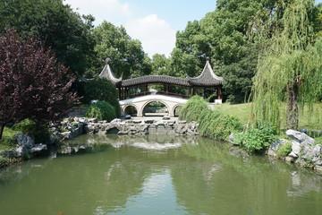 Suzhou,China-September 17, 2019: A pond and a garden in Nan Men, Suzhou, China