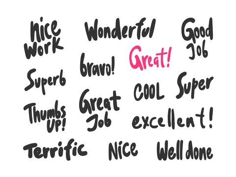 Nice work, wonderful, great, job, nice, well, done, super, thumbs, up, superb, excellent. Sticker for social media content. Vector hand drawn illustration design.