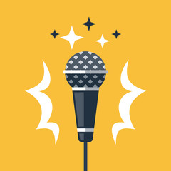 Dynamic microphone, open mic comedy stand up, master of ceremonies or emcee, talk show, podcast or broadcast