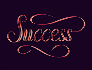 Glowing red word Success on dark background digital artwork