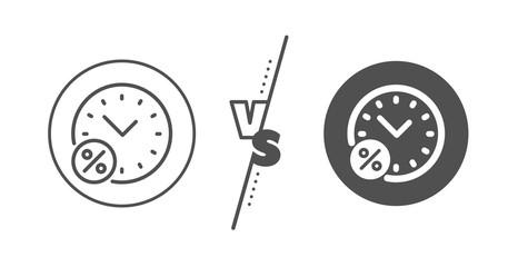 Discount sign. Versus concept. Loan time percent line icon. Credit percentage symbol. Line vs classic loan percent icon. Vector