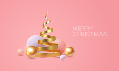 Merry Christmas. Vector holiday illustration. Geometric 3d primitives concept. Minimal style cover. Golden helix and spheres shapes. Party invitation or greeting card design