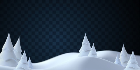 Winter landscape with snowdrifts and snowy fir trees. Vector 3d illustration. Seasonal nature background. Frosty snow hills. Natural decoration isolated on transparent background. Game art concept.