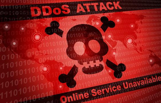 DDOS Attack Malware Hacker Around The World Background