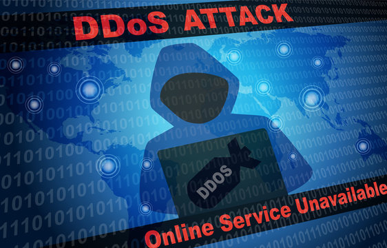 DDOS Attack Malware Hacker Around The World Background with faceless hooded person
