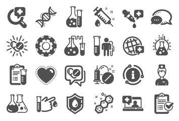 Medical healthcare, doctor icons. Drug testing, scientific discovery and disease prevention signs. Chemical formula, medical doctor research, chemistry testing lab icons. Quality set. Vector