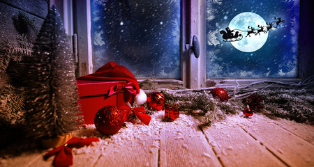 Winter window with snow and ice Christmas decoration gifts