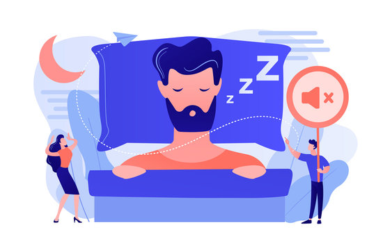 Businessman sleeping in bed and snoring, angry awake tiny people listening. Night snoring, sleep apnea syndrome, snoring and apnea treatment concept. Pinkish coral bluevector isolated illustration