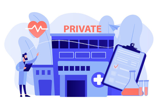 Doctor pointing at private healthcare center with medical services. Private healthcare, private medical services, health care center concept. Pinkish coral bluevector vector isolated illustration