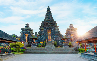Wall Murals Place of worship Bali style roof of Pura Besakih temple on the slopes of Mount Agung largest and holiest temple in Bali
