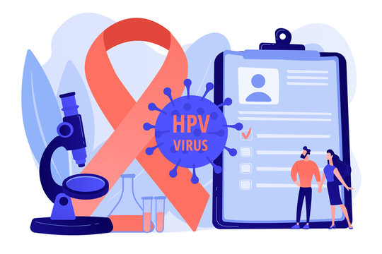 Human papillomavirus development. Disease symptom. Risk factors for HPV, HPV infection leads to cervical cancer, cervical cancer screening concept. Pinkish coral bluevector vector isolated