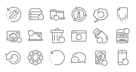 Recovery line icons. Backup, Restore data and recover file. Laptop renew, drive repair and phone recovery icons. Linear set. Quality line set. Vector