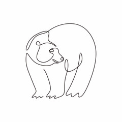 Continuous single line drawing of bear wild animals vector illustration. One hand drawn winter animal mascot minimalism of polar bears.